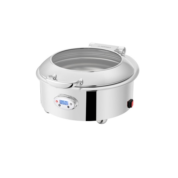 Round 6.8L Stainless Steel Electric Chafer with Digital Temperature Display (Venice Series)-W36521
