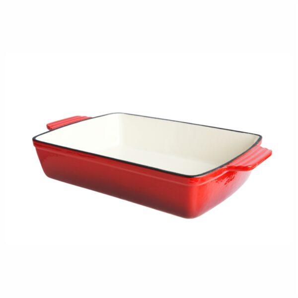 Cast Iron Rectangular Dish, 28.5x20cm (Red)-MCST28R